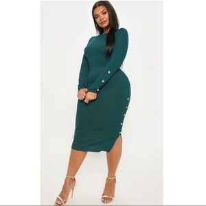 Emerald Green Ribbed Button Detail Midi Dress